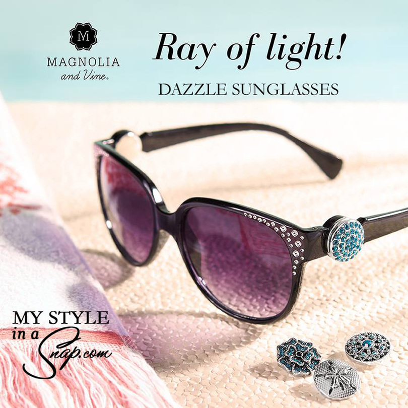 Dazzle Sunglasses in Black by Magnolia and Vine available at MyStyleInASnap.com - add your favorite SNAP to mix and match your sunglasses to your outfit, your mood or your occasion | Buy 4 Snaps, GET 1 FREE!