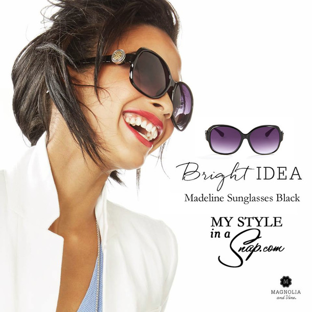 Madeline Sunglasses in Black by Magnolia and Vine available at MyStyleInASnap - add your favorite SNAP to mix and match your sunglasses to your outfit, your mood or your occasion