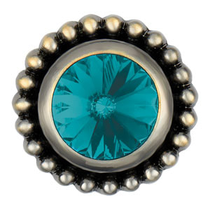 Magnolia and Vine Antique Brass Bijou Deep Teal Snap #S1215 available at MyStyleInASnap.com