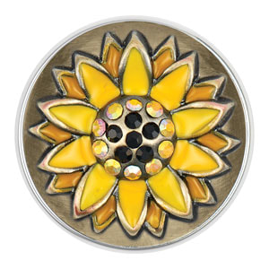 Magnolia and Vine Antique Brass Sunflower Snap #S1224 available at MyStyleInASnap.com