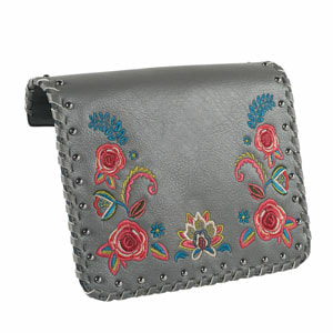 Arboretum Embroidered Grey/Multi Flap Accent for the VERSA INTERCHANGEABLE HANDBAG. Fits our Black Clutch and our Signature or Journey VERSA Base Bags in Black, Navy, Brown or Grey. VEGAN LEATHER. Carry crossbody or with the single short strap.  Shop MyStyleInASnap to see ALL THE FLAP ACCENTS! Love it? Join us and get it all at consultant prices!