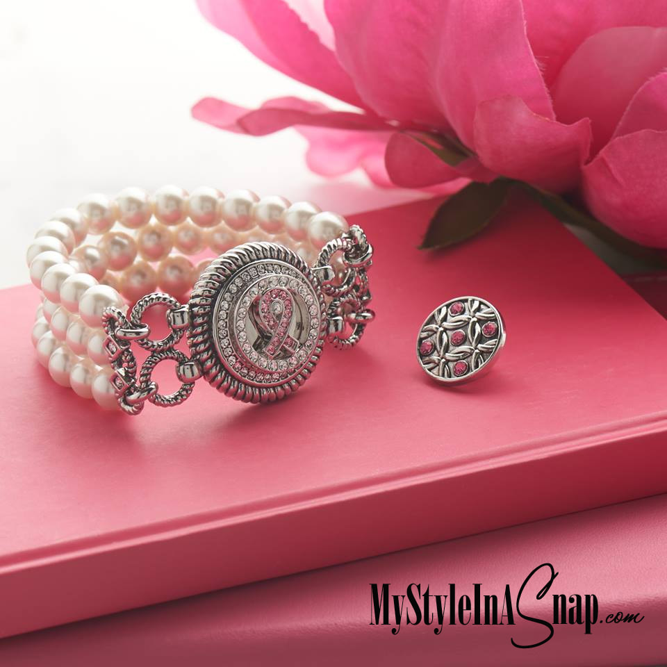 Breast Cancer Awareness Bracelet Set - Pearl Stretch Bracelet and 2 Snaps - includes the pink ribbon snap. Buy at MyStyleInASnap.com LOVE IT? Join us and buy it all at consultant prices.