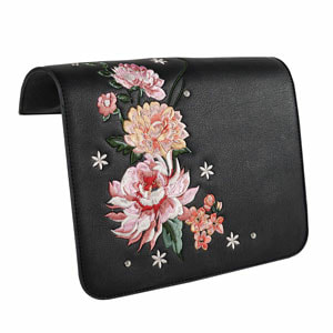 Dahila Embroidered Black/Pinks Flap Accent for the VERSA INTERCHANGEABLE HANDBAG. Fits our Black Clutch and our Signature or Journey VERSA Base Bags in Black, Navy, Brown or Grey. VEGAN LEATHER. Carry crossbody or with the single short strap.  Shop MyStyleInASnap to see ALL THE FLAP ACCENTS! Love it? Join us and get it all at consultant prices!