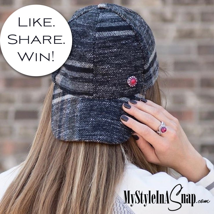 Adjustable black and grey plaid baseball cap holds one interchangeable 18mm Original Jewelry Snap above the bill - Available at MyStyleInASnap.com - Love it? Join us and get it all at consultant prices.