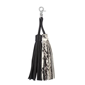 Interchangeable VERSA Handbag Double Tassel in black and black and white snakeskin available at MyStyleInASnap.com