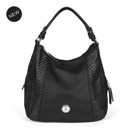 Grand Black Carly Hobo Bag holds your choice of one 30mm Jewelry Snap (sold separately) at MyStyleInASnap.com