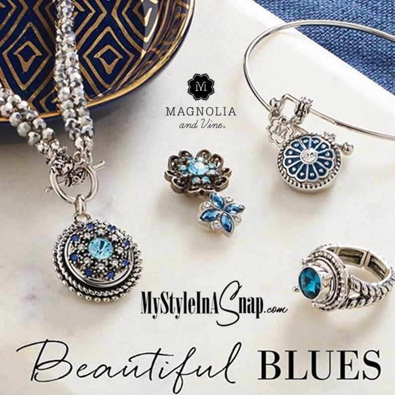Beautiful Blues Jewelry Snaps by Magnolia and Vine available at MyStyleInASnap.com