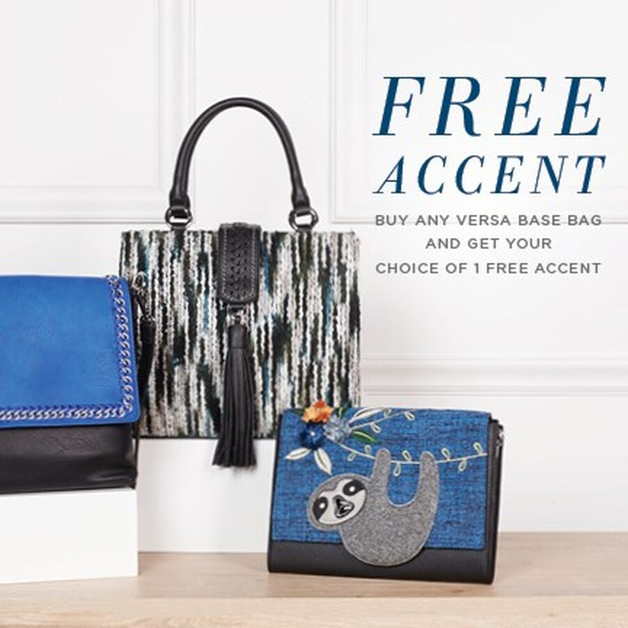 Buy any Versa Base Bag and get your choice of one FREE Accent! Lots of base bag styles, colors and accents - wraparound and flap - to choose from. (ENDS 11/21/19) Shop MyStyleInASnap.com