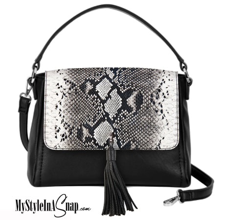 Interchangeable VERSA Handbag with the Black and White Snakeskin Accent interchangeable flap - Change your purse Accent flap to match your outfit, your personality or your occasion! Shop MyStyleInASnap.com - LOVE IT? Join us and get it all at consultant prices!