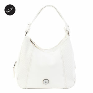 Grand White Carly Hobo Bag holds your choice of one 30mm Jewelry Snap (sold separately) at MyStyleInASnap.com