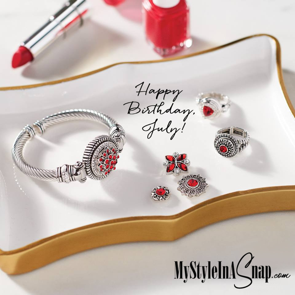 Happy Birthday July babies! We love the deep red ruby color of the July birthstone. Swap in and out your favorite jewelry snaps in any base piece - necklaces, bracelets, rings, earrings and more - and enjoy affordable fashion essentials in a Snap! Shop MyStyleInASnap.com LOVE IT? Join us and get it all at consultant prices.