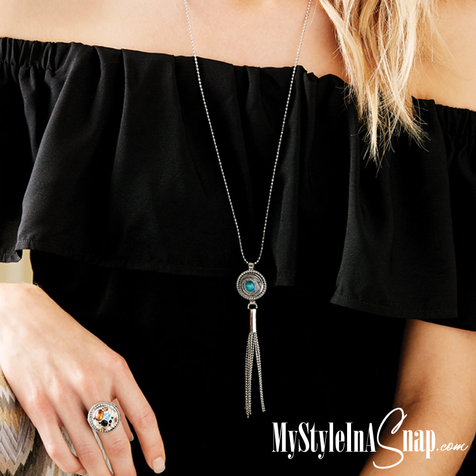 The long Harmony Tassel Necklace with the Sundance Teal Snap is a fun look for any season. Shop MyStyleInASnap.com LOVE IT? Join  us and get it all at consultant prices.