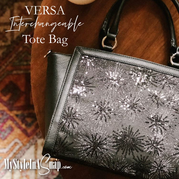 Versa Commuter Winged Tote with the Brilliance Wraparound Accent. We love this handbags black background with bursts of sparkle from the all-over silver metallic embroidery and black sequins - Shop MyStyleInASnap.com LOVE IT? Join us and get it all at consultant prices.