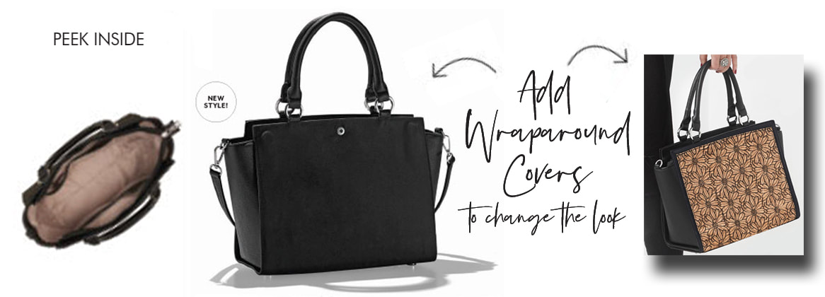 Versa Tote style Handbags with interchangeable Wraparound Accent Covers - Change your purse look in seconds. Shop MyStyleInASnap.com