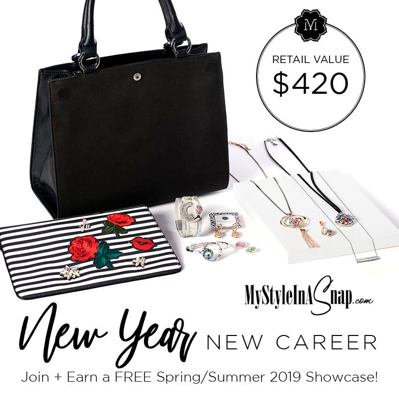 Resolved to find a rosier gig or a part-time income in the New Year? Join us as a Style Consultant in January, 2019. You'll be able to earn a FREE Spring/Summer 2019 Showcase -- all the glorious goodies you see here ($420 value).  Get the details at MyStyleInASnap.com