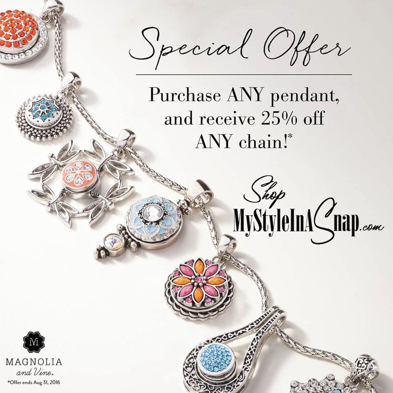 Purchase any Magnolia and Vine Pendant and receive 25% off any chain at MyStyleInASnap.com (expires 8/31/16)