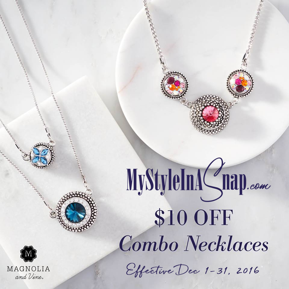 $10 OFF Combo Snap Necklaces - December Customer Special from Magnolia and Vine available at MyStyleInASnap.com