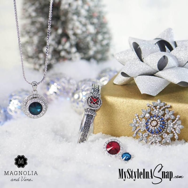 Give or get dazzling interchangeable snap jewelry by Magnolia and Vine from MyStyleInASnap.com - BUY 4 SNAPS, GET 1 FREE!