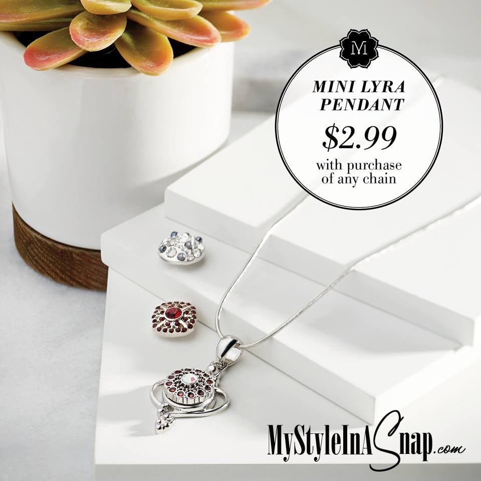 Purchase any chain in December and get our Mini Lyra Pendant for just $2.99 (a $15.99 value) at MyStyleInASnap.com - LOVE IT? Join us and get it all at consultant prices.