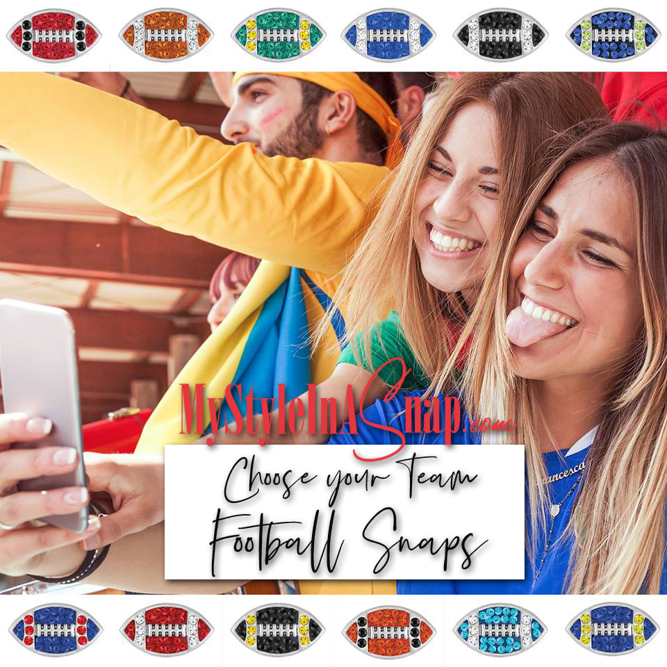 Cheer on your favorite team in style with our new Mini Football Snaps, popped into earrings, bracelets, necklaces, gloves, rings or whatever you're wearing on game day. Shop MyStyleInASnap.com LOVE IT? Join us and get it all at consultant prices!