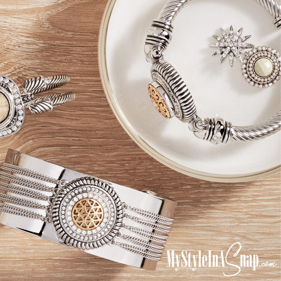 Silver, Ivory and Gold Snap Jewelry - Snaps, Bracelets, Necklaces, Earrings and More available at MyStyleInASnap.com - LOVE IT? Join us and get it all at consultant prices.