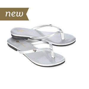 Magnolia and Vine Mini Metallic Silver Flip Flops available at MyStyleInASnap.com
