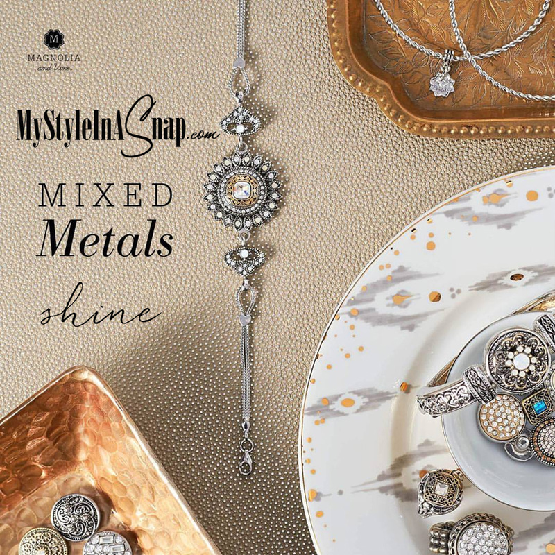 Shop Magnolia and Vine interchangeable Snap jewelry and create your own Mixed Metals look at MyStyleInASnap.com
