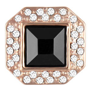 Rose Gold Cuff Link Black Snap #S1193