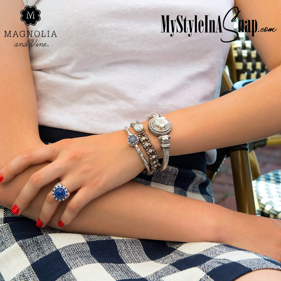 Beautiful blue and white jewelry Snaps on our favorite bracelets and stretch ring are great for casual jeans or to dress up any outfit. Bracelets, rings, necklaces, rings, handbags and more! Available at MyStyleInASnap.com LOVE IT? Join us and buy it all at consultant prices.