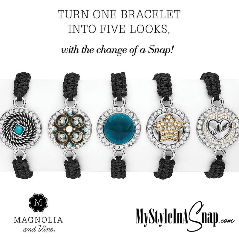 Magnolia and Vine - Buy 4 Snaps, Get 1 Free - gives you five unique looks using our Starlet Woven Bracelet - available at MyStyleInASnap.com