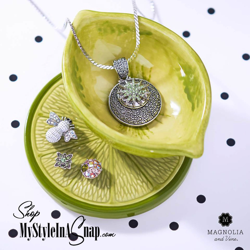 A splash of color - Magnolia and Vine interchangeable jewelry available at MyStyleInASnap.com