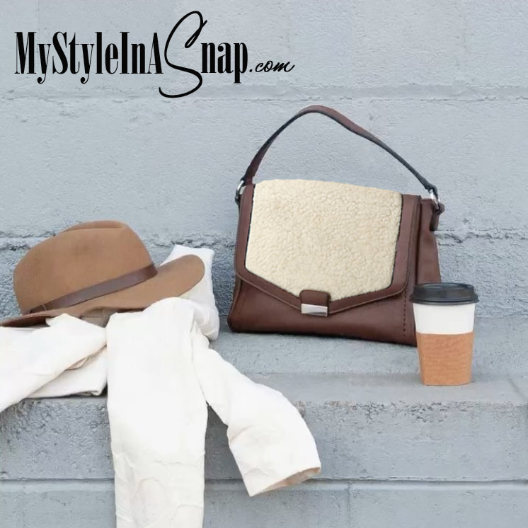 Interchangeable Versa Handbag with Sherpa Accent (Also comes in Black!) available at MyStyleInASnap.com
