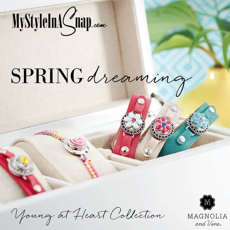 Magnolia and Vine Snap Jewelry Young at Heart Collection - Bracelets, Hair Ties, Hair Pins and fun new Snaps available at MyStyleInASnap.com - BUY 4 SNAPS, GET 1 FREE!