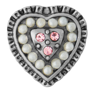 Mini Heartfelt White Pearl Snap #M0768 Mini Heartfelt White Pearl Snap #M0768
