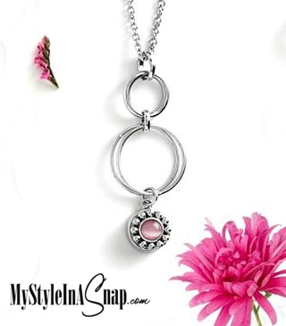 Mini Hoopla Necklace #M0456 with Mini Saguaro Pink Snap #M0475 - Come discover interchangeable Snap Jewelry (your budget and wardrobe will love it!) BUY 4 SNAPS, GET 1 FREE! Shop everything at MyStyleInASnap.com WANT IT ALL? Join us today and buy your accessories at consultant prices.