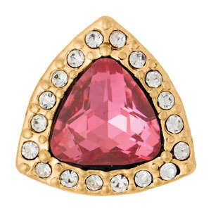 Mini Yellow Gold Tone Deco Dark Pink Snap #M0858 at MyStyleInASnap.com