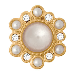 Mini Yellow Gold Tone Victorian White Pearl Snap #M0853 at MyStyleInASnap.com