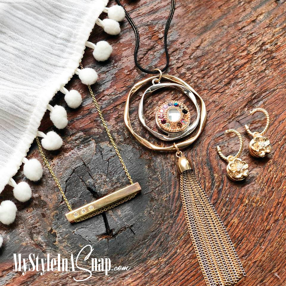 Layer your favorite pieces! Snap jewelry pieces and sentiment Bar Pendants and our Twist Hoop Earrings available at MyStyleInASnap.com LOVE IT? Join us and get it all at consultant prices.