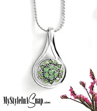 Magnolia and Vine Modern Muse Pendant #S1278 on S-Curve Chain with Celestial August Snap #S1195 available at MyStyleInASnap.com