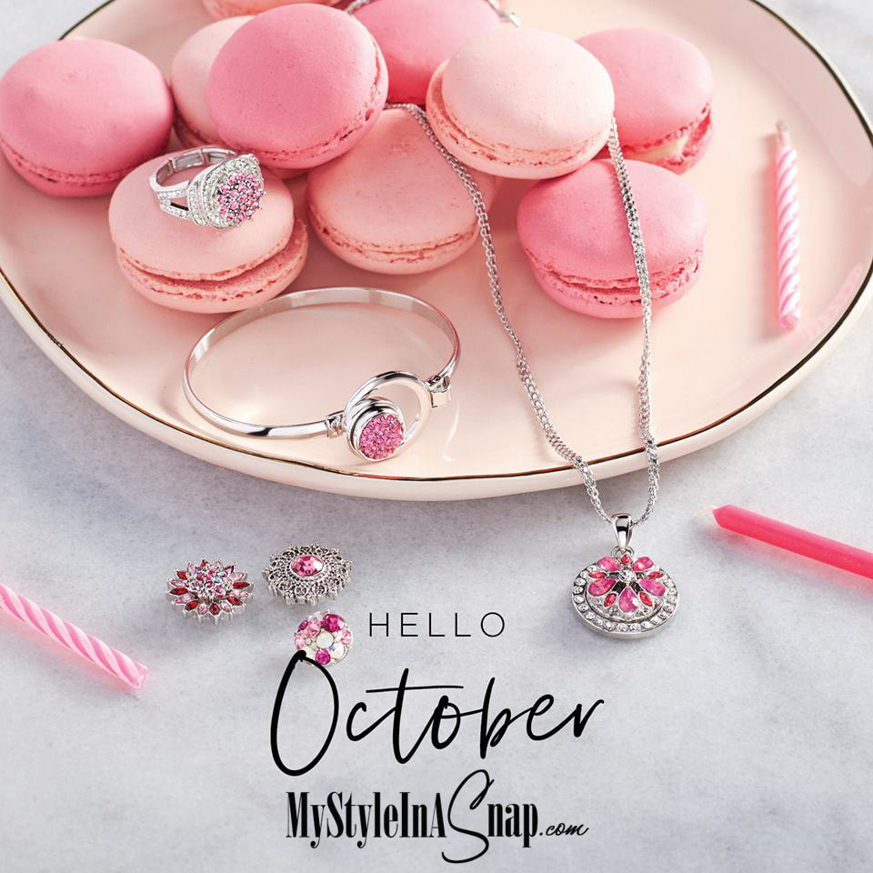 We're celebrating October babies, with dazzling Snaps in the prettiest pinks. Treat yourself to a few new sparklers this month and flaunt your feminine side. Shop MyStyleInASnap.com LOVE IT? Join us and get it all at consultant prices.