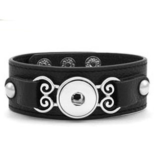 Magnolia and Vine Curlicue Leather Bracelet Black #S1139 available at MyStyleInASnap.com