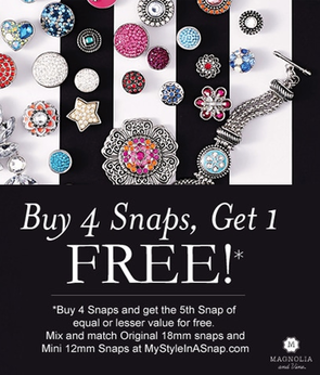 Magnolia and Vine - Buy 4 Snaps, Get 1 FREE - available at MyStyleInASnap.com | Come discover your own personal style today with interchangeable jewelry and accessories you will love.