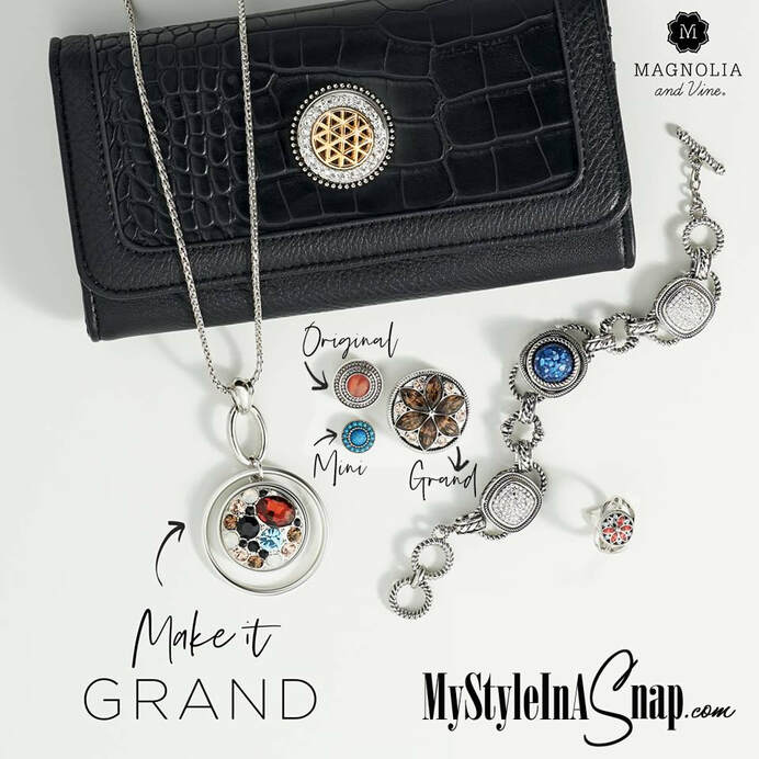 Wallets with 30mm Grand Jewelry Snaps - change the look of your wallet in seconds by swapping interchangeable jewelry Snaps in and out to match your outfit! Shop MyStyleInASnap.com LOVE IT? Join us and get it all at consultant prices!