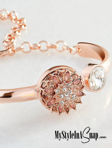 Rose Gold Reflections Snap Jewelry Bracelet with Larkspur Snap - change the look of your bracelet in seconds by swapping interchangeable jewelry Snaps in and out to match your outfit! Shop MyStyleInASnap.com LOVE IT? Join us and get it all at consultant prices!