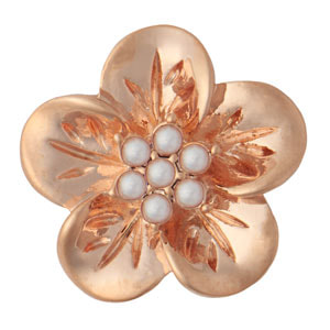Rose Gold Mini Hibiscus White Pearl Snap #M0828