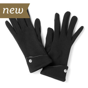 Screen Savvy Black Fleece lined gloves with texting thumb and index finger pads, vegan leather piping and a 12mm Mini Jewelry Snap on each glove. Available at MyStyleInASnap.com - LOVE IT? Join us and get it all at consultant prices.