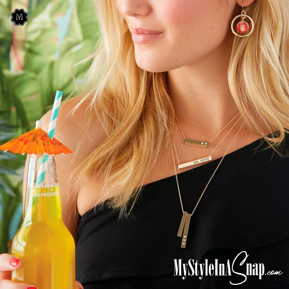 Statement Bar Pendants to wear vertical or horizontal, single or more on a dainty chain that slips through one or both holes in each bar. Shop MyStyleStyleInASnap.com