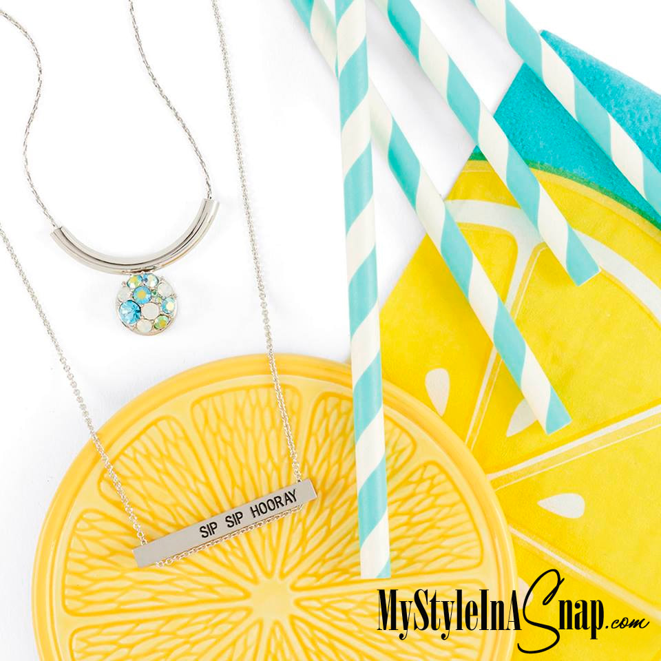 Sip Sip Horray Sentiment Bar Pendants. Wear horizontal or vertical on a dainty chain, layer with any of our other Pendants or with a necklace with interchangeable jewelry Snaps in a color of the season and enjoy! MyStyleInASnap.com LOVE IT? Join us and get it all at consultant prices.