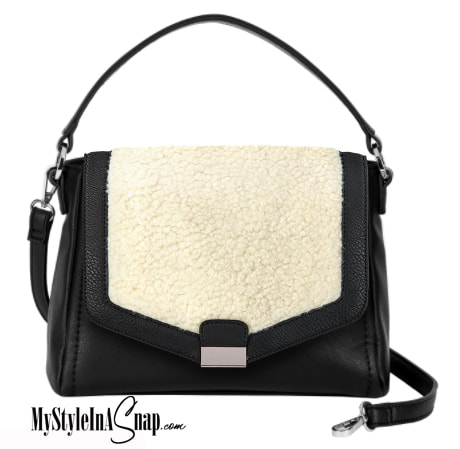 Black Interchangeable Versa Handbag with Sherpa Accent in Cream/Black available at MyStyleInASnap.com