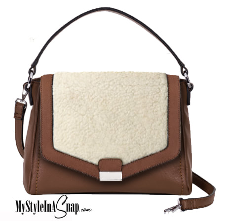 Brown Interchangeable Versa Handbag with Sherpa Accent in Cream/Brown available at MyStyleInASnap.com